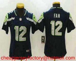 7103843a5 Women s Seattle Seahawks  12 12th Fan Navy Blue 2017 Vapor Untouchable  Stitched NFL Nike Limited
