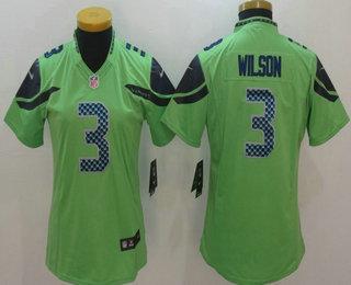 sale retailer f8393 258b9 Women's Seattle Seahawks #3 Russell Wilson Green 2016 Color ...