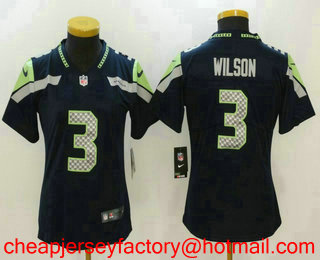 a2da5b32a Women s Seattle Seahawks  3 Russell Wilson Navy Blue 2017 Vapor Untouchable  Stitched NFL Nike Limited