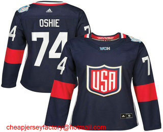 new styles ad05a 0c395 Women's Team USA #74 T. J. Oshie Navy Blue 2016 World Cup ...