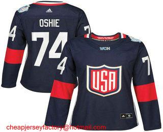 new styles f1b96 c330e Women's Team USA #74 T. J. Oshie Navy Blue 2016 World Cup ...