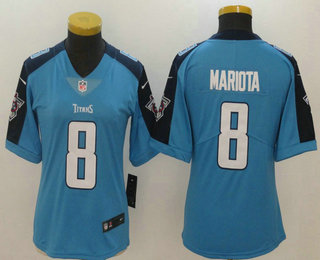 ... Womens Tennessee Titans 8 Marcus Mariota Light Blue 2017 Vapor  Untouchable Stitched NFL Nike Limited Mens Tennessee Titans ... 549984d76