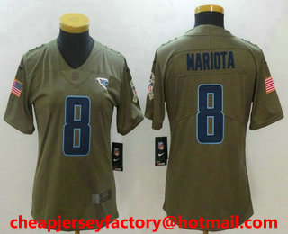 womens tennessee titans 8 marcus mariota olive 2017 salute to service stitched nfl nike limited jersey
