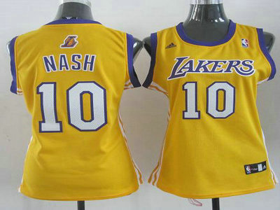 384ad60bd05 Women Los Angeles Lakers 10 Steve Nash Yellow Revolution 30 Swingman NBA  Jerseys