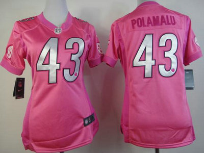 promo code 04891 b9622 Nike Pittsburgh Steelers 43 Troy Polamalu Pink FEM FAN ...