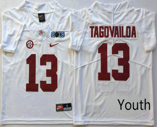 b25f6bab0 Youth Alabama Crimson Tide  13 Tua Tagovailoa White 2019 Championship Game  Patch Vapor Untouchable Stitched