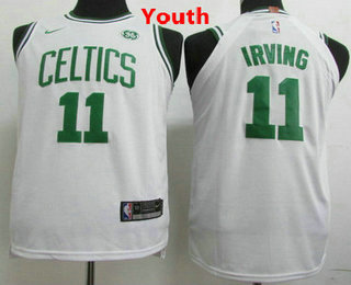 16b1e7c3400 Youth Boston Celtics #11 Kyrie Irving White 2017-2018 Nike Swingman General  Electric Stitched