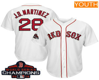 new products 68b4d fb62e Youth Boston Red Sox #28 J.D. Martinez White 2018 MLB World ...