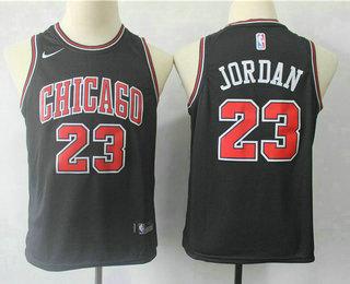 eb0ecba85 Youth Chicago Bulls  23 Michael Jordan Black With White Name 2017-2018 Nike  Swingman