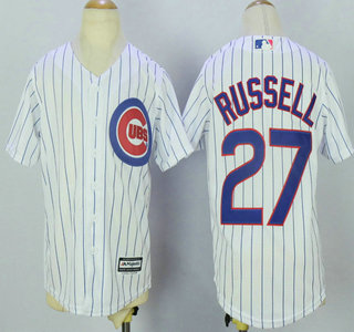 e8594d5a134 Youth Chicago Cubs  27 Addison Russell White Home Stitched MLB Cool Base  Jersey