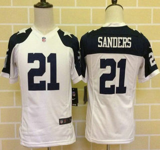 a9fda8c253d Youth Dallas Cowboys #21 Deion Sanders White Thanksgiving Retired Player NFL  Nike Game Jersey
