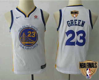 1a9f21f8566 Youth Golden State Warriors #23 Draymond Green White 2018 The NBA Finals  Patch Nike Swingman