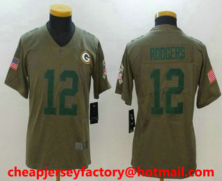 b356df08d ... Youth Green Bay Packers 12 Aaron Rodgers Olive 2017 Salute To Service  Stitched NFL Nike ...