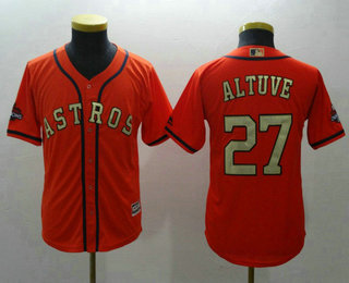 best sneakers 05a5f bc776 Youth Houston Astros #27 Jose Altuve Orange with Gold Cool ...