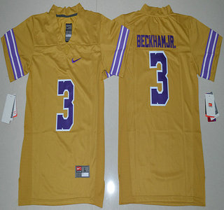 f18b2b77a ... Youth LSU Tigers 3 Odell Beckham Jr. Gridiron Gold Limited Stitched  College Football 2016 ...