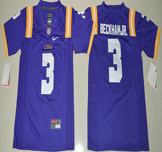 the latest 039f0 aca82 Youth LSU Tigers #3 Odell Beckham Jr. Purple College ...
