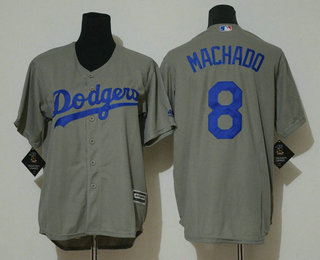 b684989b4 Youth Los Angeles Dodgers  8 Manny Machado Gray Stitched MLB Cool Base  Jersey