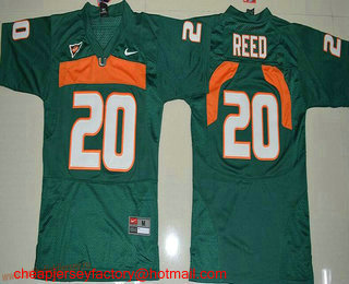 release date f44c3 287bb Youth Miami Hurricanes #20 Ed Reed Green Stitched NCAA Nike ...