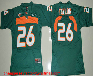 new concept c21e2 68558 Youth Miami Hurricanes #26 Sean Taylor Green Stitched NCAA ...