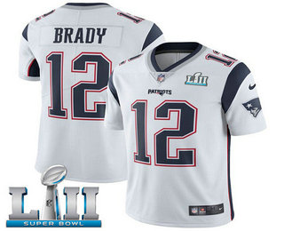 ... Nike Limited Jersey   22.5. Youth New England Patriots  12 Tom Brady  White 2018 Super Bowl LII Patch Vapor Untouchable 548d6af02