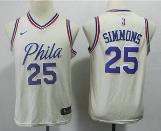 65e0b5fefb2e Youth Philadelphia 76ers  25 Ben Simmons Cream Nike City Edition Swingman  Jersey