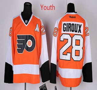 Youth Philadelphia Flyers  28 Claude Giroux Orange A Patch Hockey Jersey a5c796bb6