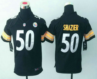 ... White Road Stitched NFL Nike Game Jersey Youth Pittsburgh Steelers 50  Ryan Shazier Black Team Color NFL Nike Game Jersey ... 29690c74f