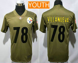 super popular 5c613 cd105 Youth Pittsburgh Steelers #78 Alejandro Villanueva Olive ...