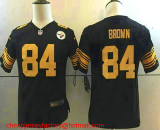e40339c2afb ... Jersey Youth Pittsburgh Steelers 84 Antonio Brown Black With Yellow  2016 Color Rush Stitched NFL Nike Limited ...