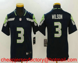 f98749aa25a Youth Seattle Seahawks  3 Russell Wilson Navy Blue 2017 Vapor Untouchable  Stitched NFL Nike Limited